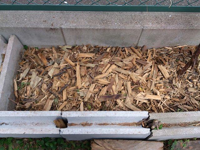 板を砕き続け、とりあえずこのぐらいまでは小さくすることができました。雑草と混ぜて春までには分解していこうと思います。