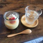 奥さんが作ってくれた梅ジュースとプリンです。
